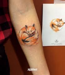 фото татуировки лиса в стиле авторский акварель графика цветная
