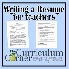 Writing Your Resume Sample Resume Curriculum And Teacher
