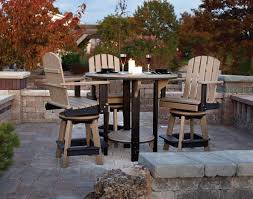 outdoor bar height bistro table set. amish poly patio pub table set with four swivel chairs outdoor bar height bistro