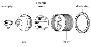 components of a standard l holder with cord grip