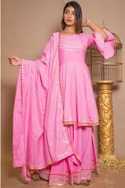 Dress Design Salwar Kameez Latest Pink Plain Cotton Designer Suit With Skirt