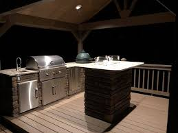 a recently outdoor kitchen complete with fire area and cooking stations