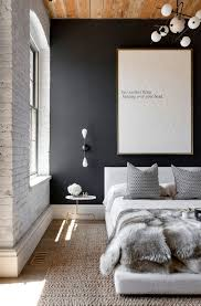 modern bedroom design ideas black and white. In This Bedroom The Flat Black Wall Contrasts With Unfinished Wood Plank Ceiling And Exposed White Brick Wall. Sisal Rug Faux Fur Throw Also Modern Design Ideas