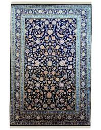 sapphire blue fl hand knotted woolen area rug