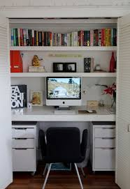 home office closet. Small Apartment Design Ideas - Create A Home Office In Closet // Although This Is Tucked Into Closet, It Still Manages To Fit All The Pinterest