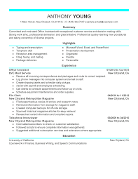 Sample Professional Resume 6 Office Assistant Example