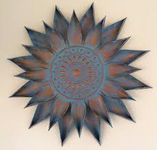 copper turquoise giant flower bloom wall art decor metal sun burst wall 34
