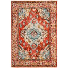 safavieh monaco orange light blue 8 ft x 10 ft area rug