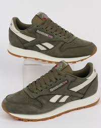 reebok reebok classic leather tl trainers washed olive chalk