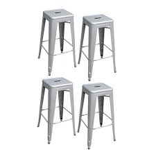 loft style 30 in stackable metal bar stool in silver set of 4