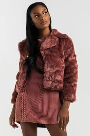 front view baby im ready faux fur cropped jacket in dark mauve