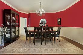red room furniture. Dining Room With Red Upper Half Walls, Dark Wood Set And Floor Furniture