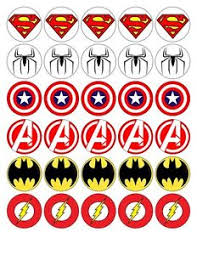 30 X4cm Boys Super Hero Signs Edible Waferfondant Paper Cup Cake