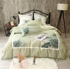 2018 green leaf embroidery bedding sets egyptian cotton satin king size duvet cover queen size bed sheets gray twin comforter duvet covers bedding from
