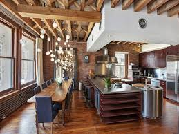 modern décor dining room kitchen design kitchen island wood floor new york city apartment