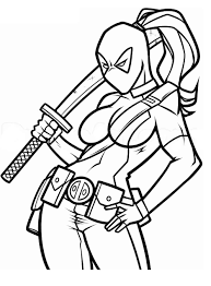 Lady Deadpool Coloring Pages Printable Coloring Marver Lady Deadpool