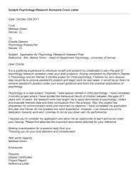 Research Assistant Cover Letter Research Assistant Cover Letter