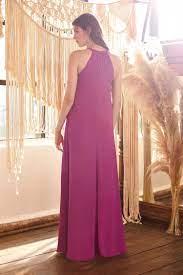 Erguvan Rengi Halter Yaka Şifon Elbise – Oleg Cassini