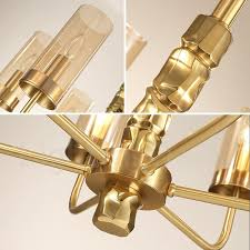 modern contemporary 8 light brass chandelier with glass shade for bathroom living room