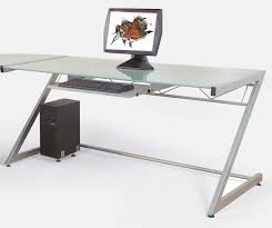 Uncategorized Simple Computer Desk With Solid Aluminium Stand And  Transparent Tempered Glass Upper For Modern Desk