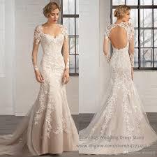 fishtail wedding dress sweetheart open back long sleeve robe de