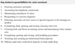 sales assistant job description      key duties responsibilities for  s assistant