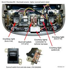 jeep grand cherokee wj overhead console and evic overhead console rear wiring detail
