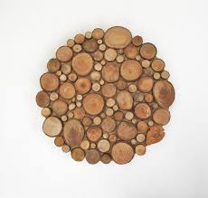 zoom on birch wood slice wall art with rustic circular wood tree slice centerpiece tree slice wall