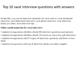 Top 10 Swat Interview Questions With Answers
