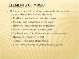 Fast (allegro), moderate (andante), & slow (lento / largo). Elements Of Music All Forms Of Music From All Societies And Cultures Have Common Characteristics And Elements Rhythm How The Beat Is Broken Down Melody Ppt Download