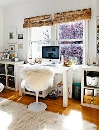 hey home office overhalul. Office Decorating Ideas With Bamboo Blinds For The Window, Faux Fur Chair Cover, And A Shag Area Rug Hey Home Overhalul I
