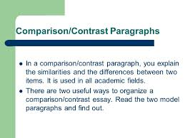 "writing comparison contrast paragraphs ""an introduction to eap  3 comparison contrast"