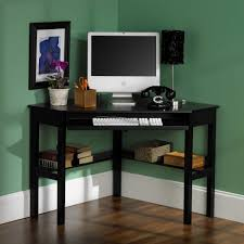 Small Black Home Office Desk In The Corner Room With Bookshelf And Furniture  Storage Ideas