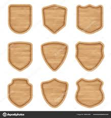set realistic wooden sign plates texture meval shield signs restaurants stock vector