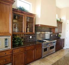 Microwave In Kitchen Cabinet Brick Kitchen Countertops Rectangle Brown Varnished Wooden Kitchen