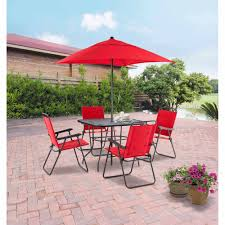 mainstays searcy lane 6 piece padded folding patio dining set red seats 4 com