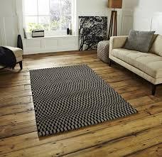 sonic black grey wool rug