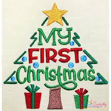 First Christmas Applique Design Christmas Embroidery Design My First Christmas Tree Lettering