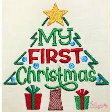 First Christmas Embroidery Design Christmas Embroidery Design My First Christmas Tree Lettering