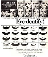 a selection of false eyelashes for the 60s woman 1969 advert