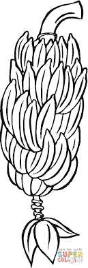 Small Picture Hand of Bananas on a branch coloring page Free Printable
