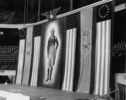 stage backdrop used by german american bund for february 20 1939 rally