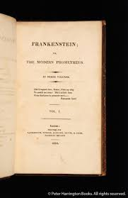 le page to the first edition of frankenstein by mary sey 1818 lord