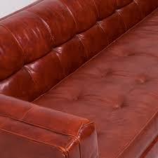 vintage tuxedo red leather sofa by milo baughman 1950s previous next