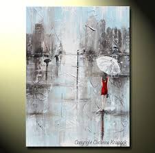 giclee print art abstract painting girl white umbrella red dress grey blue city rain canvas on girl with umbrella wall art with giclee print art abstract painting girl red umbrella grey