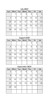 July August 2019 Calendar Printable Template Free Download