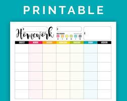 Homework Chart Printable Pdf Products In 2019 Homework