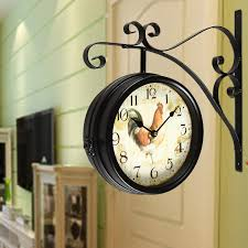 adeco balck iron vintage inspired double sided wall clock with scroll wall mount