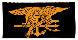 Navy Seals Logo And Motto Bath Towel