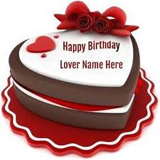 Write Name On Heart Birthady Cake For Lover